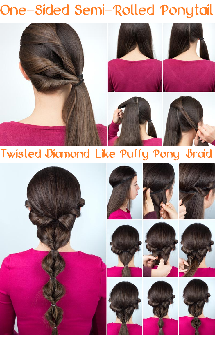 one-sided semi-rolled ponytail