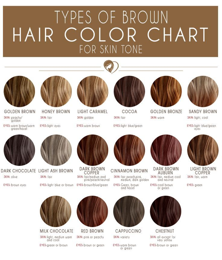 types of brown hair color chart