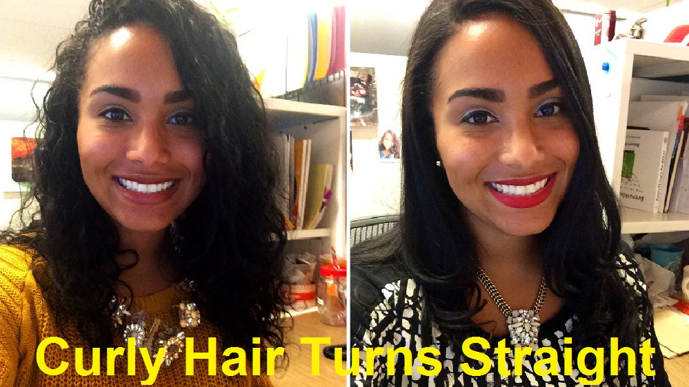 curly hair turns straight