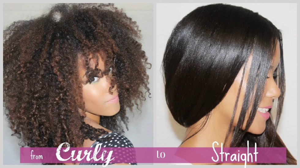 from curly to straight.